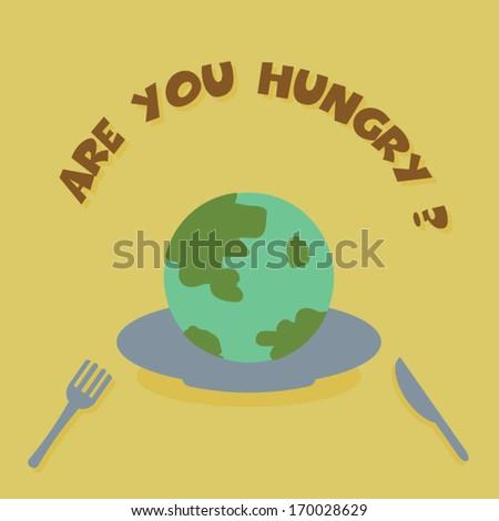 eat the earth, ecology vector concept - stock vector