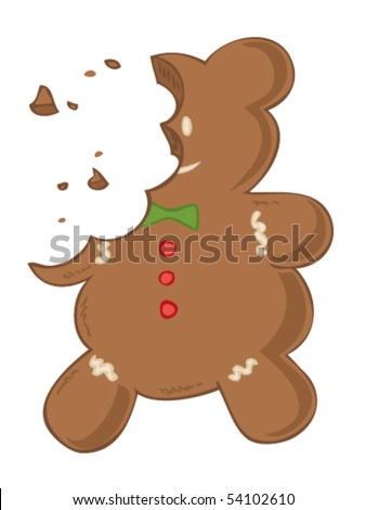 Eaten gingerbread. - stock vector