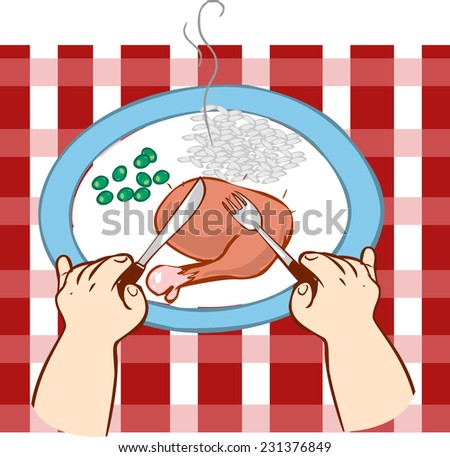 eating at the table  - stock vector