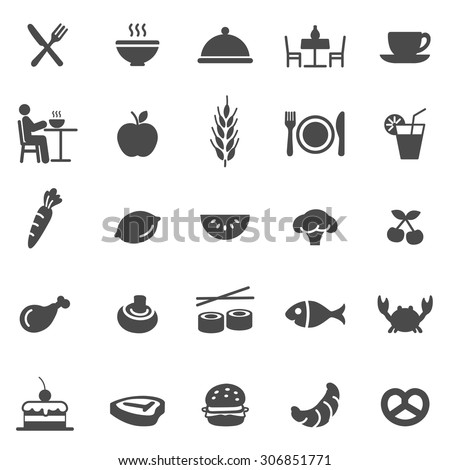 Eating black icons set.Vector - stock vector