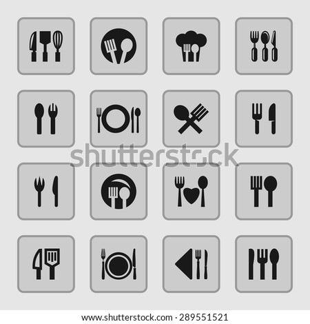 eating  tools instruments icon set