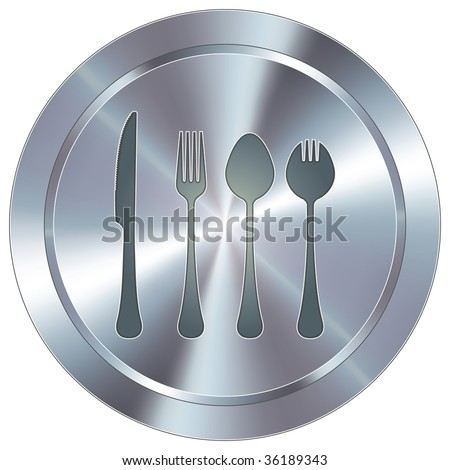 Eating utensils icon on round stainless steel modern industrial button - stock vector