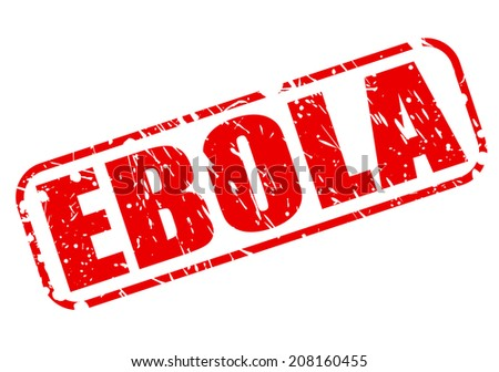 EBOLA red stamp text on white - stock vector