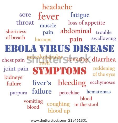 Ebola virus disease symptoms. Warning text message, word cloud concept. Vector illustration. - stock vector