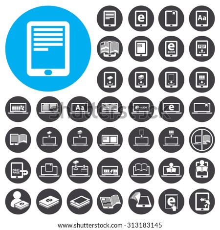 eBook and eBook Reader icons set. Illustration EPS10 - stock vector