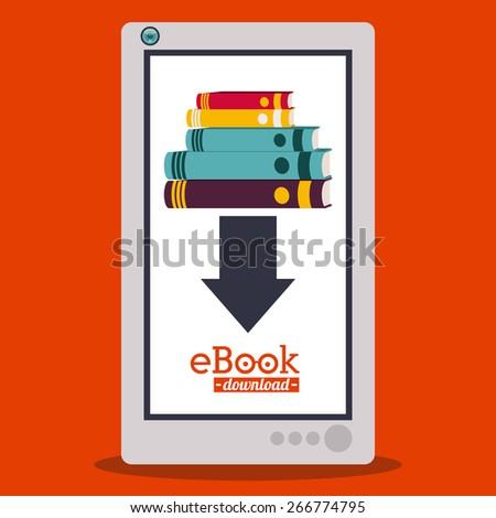 Ebook design over orange background, vector illustration - stock vector