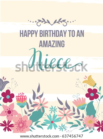 E card greeting card happy birthday amazing stock vector 637456747 ecard greeting card happy birthday amazing niece hand drawn design with beige stripes and flowers m4hsunfo