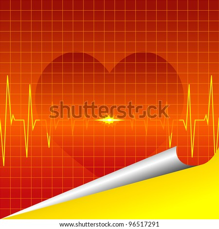 ECG and cardiac silhouette on a red background. - stock vector