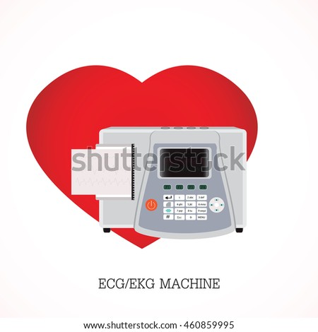 ECG or EKG machine with an integrated printer and print-out and Screen shows three graphs on shaped heart background, equipment electronic, health care flat design vector illustration.