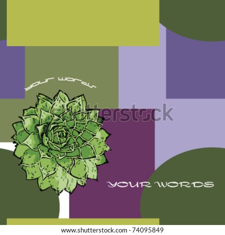 echeveria on purple and green background,vector - stock vector