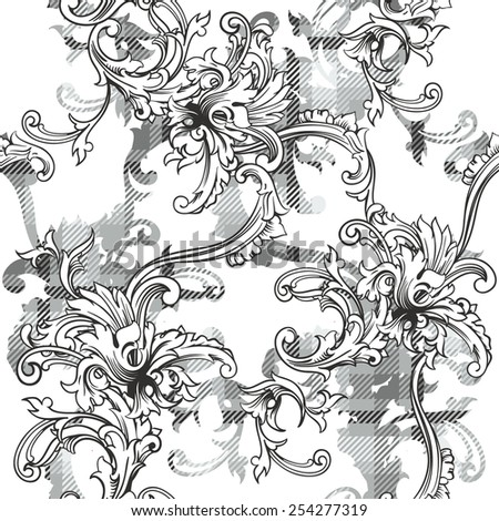 Eclectic fabric plaid seamless pattern with baroque ornament.  - stock vector