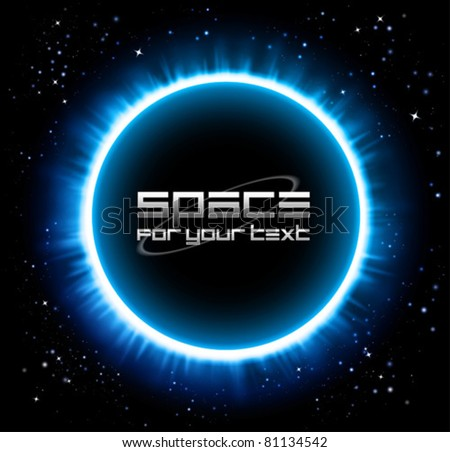 eclipse background in a blue light - stock vector