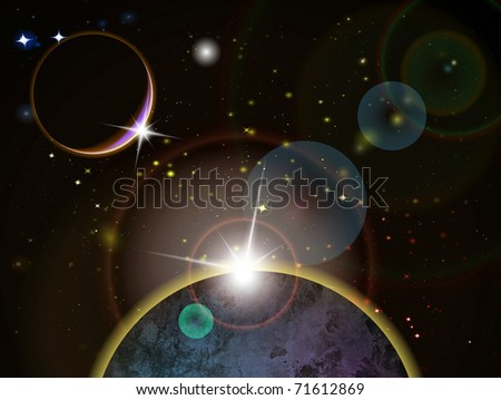 Eclipse - Fantasy Space scene, highly detailed vector illustration - stock vector