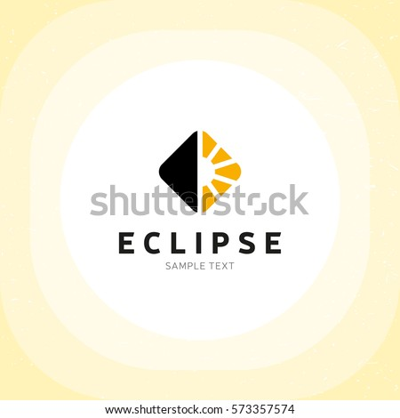 Eclipse Logo Design Template Vector Electric Light Logotype Illustration Flat Lamp Symbol Label Isolated