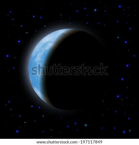 Eclipse of the planet on the black background, blue shining stars.