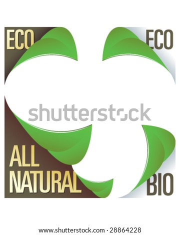 Eco and all natural corner label stickers with peeling leaves - for use in print materials, on product packaging, and on websites - stock vector