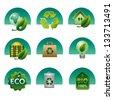 eco and bio icon set - stock vector
