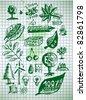 eco and bio symbols - stock vector