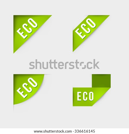 Eco and Eco product labels. Isolated vector illustration.
