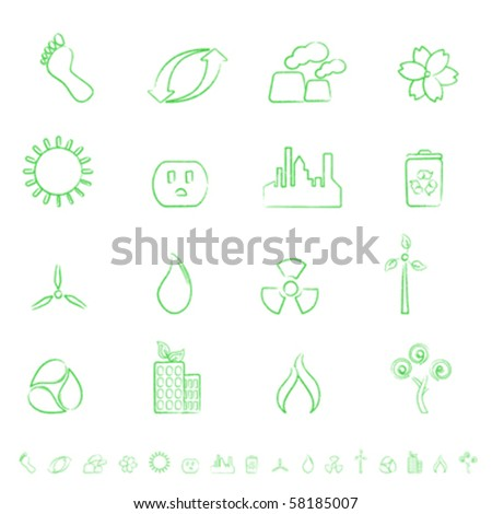 Eco and environment green icon set - stock vector