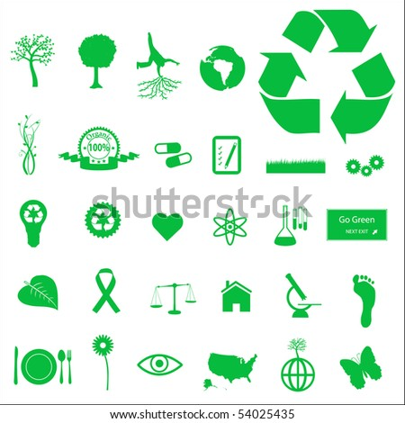 Eco and Green Icons - stock vector