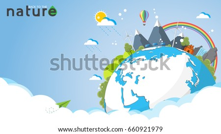 Eco and nature concept template.Summer vacation landscape ecotourism flat design.Vector illustration.