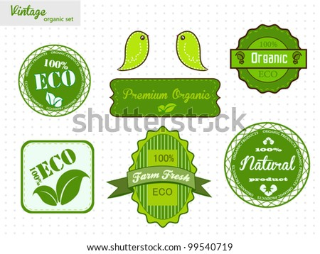 Eco And Organic Labels Set - stock vector
