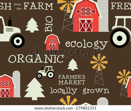 Eco and organic seamless pattern. Farmer s market design. For organic, bio products, shop, web sites, mobile app. Ecology and green theme. Brown background. Vector illustration - stock vector