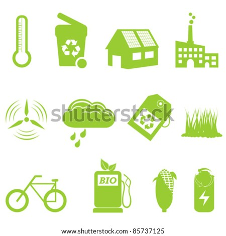Eco and recycling related icon set