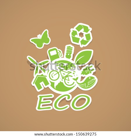 eco and Recycling symbols - stock vector