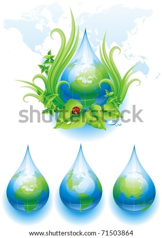 ECO background and three globes in the form of a drop. Vector illustration. - stock vector