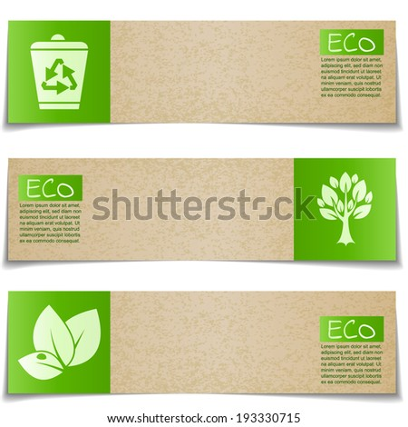 Eco banners with green signs on white background - stock vector