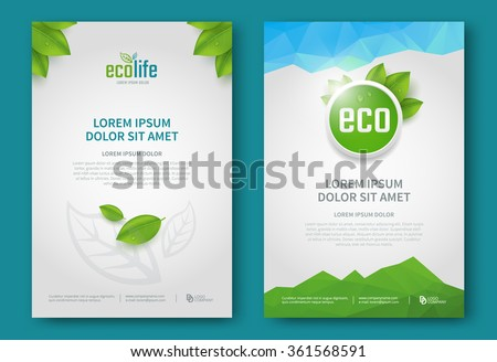 Eco brochure design vector template. Corporate poster with green leaves. - stock vector