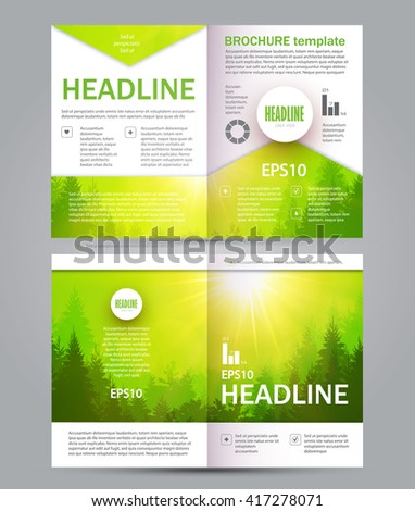 Eco Brochure. Forest Flyer. Nature Poster Template. Vector illustration