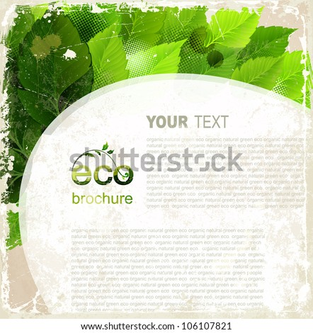 Eco brochure, oval frame with green leaves on the vintage background - stock vector
