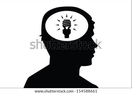 Eco bulb idea sign in man's head. Concept vector on green background - stock vector