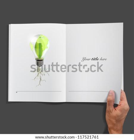 Eco bulb inside a book. Vector background design. - stock vector