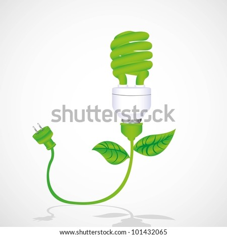 eco bulb with cable, leaf and plug isolated on white background