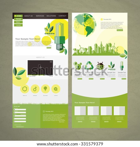 Eco Business website design template vector  - stock vector