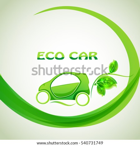 Eco car concept green drive with leaf symbol,vector illustration