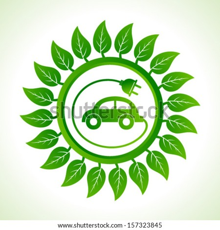 Eco car inside the leaf background stock vector - stock vector