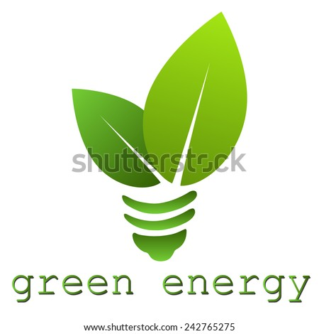 Eco certification / Bio certification / Green energy light bulb imitation logo element
