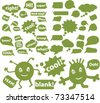 eco chat & idea signs & bubbles, vector - stock vector