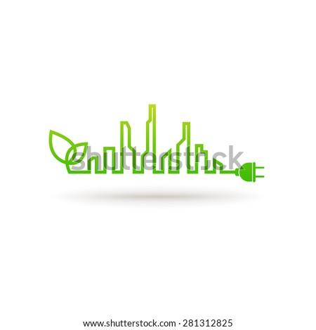 Eco city abstract concept - stock vector