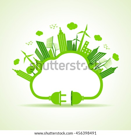 Eco city concept with cloud and plug stock vector