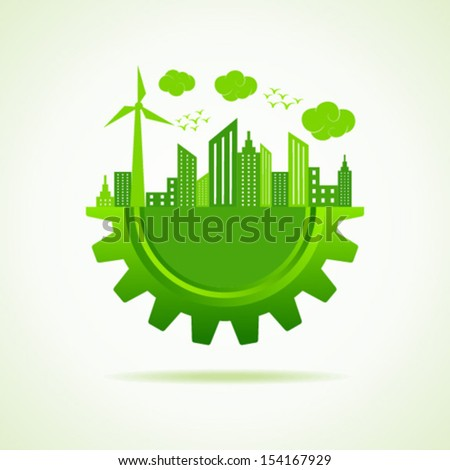 Eco city concept with gear stock vector - stock vector