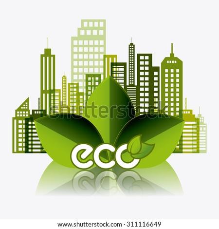 Green Silhouette Eco City Flat Vector Stock Vector