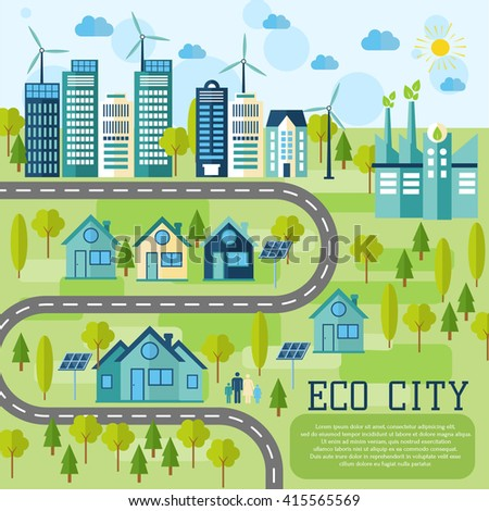 Eco city in flat design. Ecology concept  and places for text or infographic