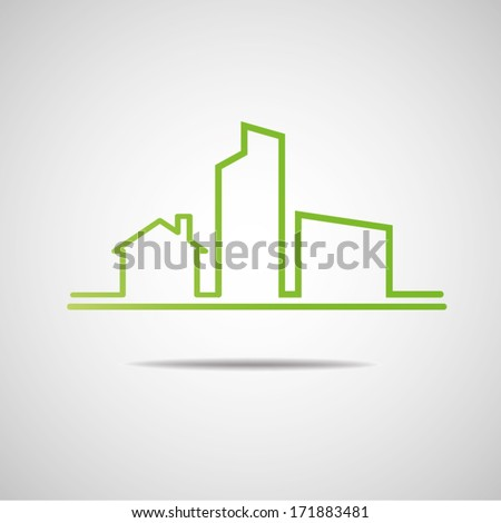 Eco City Real Estate icon - stock vector