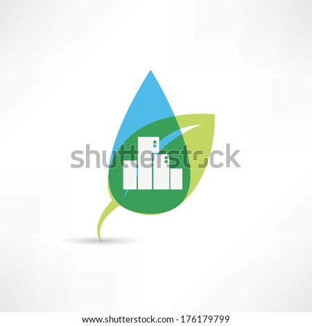 eco city with leafs - stock vector